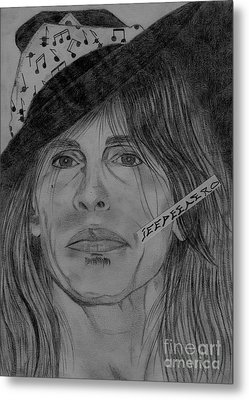 Metal Print featuring the drawing Steven Tyler Portrait Drawing by Jeepee Aero