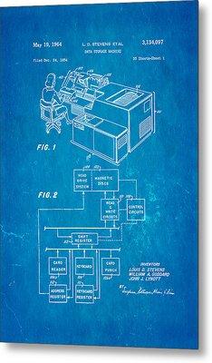 Stevens Data Storage Machine Patent Art 1964 Blueprint Metal Print by Ian Monk