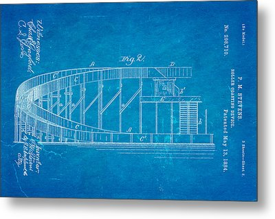 Stevens Roller Coaster Patent Art  2 1884 Blueprint Metal Print by Ian Monk