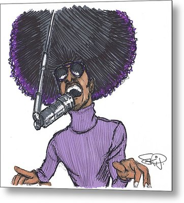 Stevie Afro Metal Print by SKIP Smith