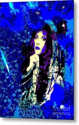 Stevie Nicks In Blue Metal Print