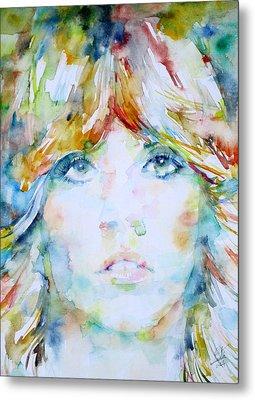 Stevie Nicks - Watercolor Portrait Metal Print by Fabrizio Cassetta