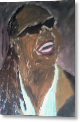 Metal Print featuring the painting Stevie Wonder 1 by Christy Saunders Church