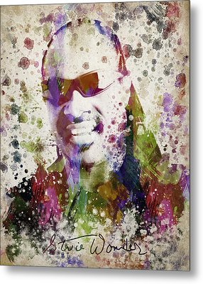 Stevie Wonder Portrait Metal Print by Aged Pixel