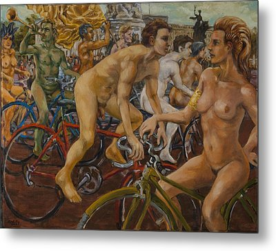 Steward Guiding Naked Bike Ride Outside Buckingham Palace Metal Print by Peregrine Roskilly