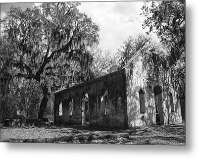 St.helena Chapel Of Ease Bw 1 Metal Print by Steven  Taylor