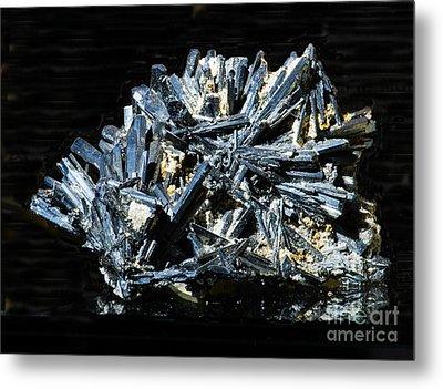 Stibnite Crystals Metal Print