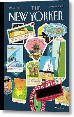 Stickers Or Badges Of Vacation Destinations Metal Print