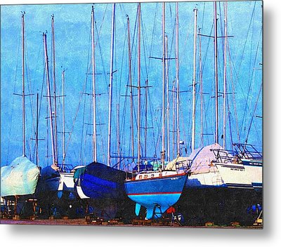 Still In Storage North Muskegon Marina  Metal Print by Rosemarie E Seppala