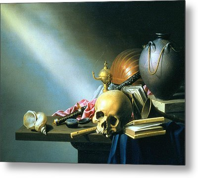 Still Life An Allegory Of The Vanities Of Human Life Metal Print by Harmen van Steenwyck