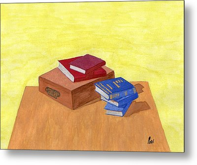 Still Life - Books Metal Print by Bav Patel