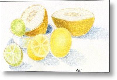 Still Life - Citrus Fruit With Melons Metal Print by Bav Patel