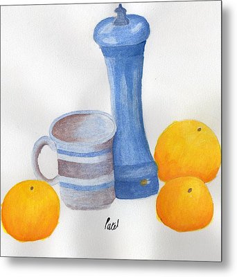 Still Life - Cup With Pepperpot And Oranges Metal Print by Bav Patel