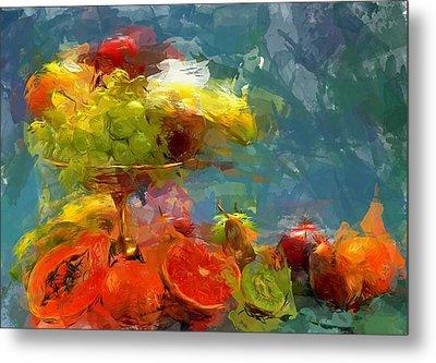 Still Life Fruits In Vase Metal Print by Yury Malkov