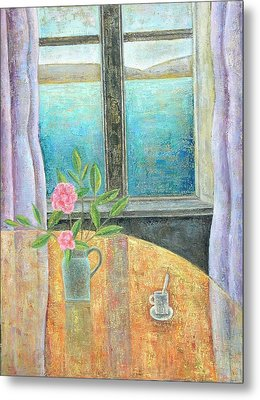 Still Life In Window With Camellia, 2012, Oil On Canvas Metal Print