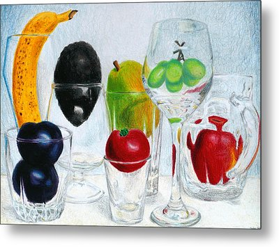 Still Life Of Fruit In Glasses Metal Print by Christina Boyt