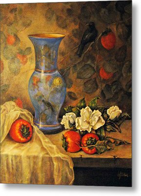 Still Life Of Persimmons  Metal Print by Donna Tucker