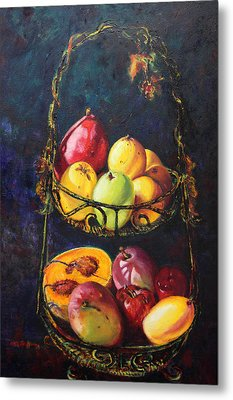 Still Life Of Tropical Fruits Bodegon Tropical Metal Print by Estela Robles Galiano