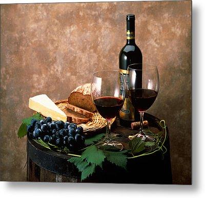 Still Life Of Wine Bottle, Wine Metal Print