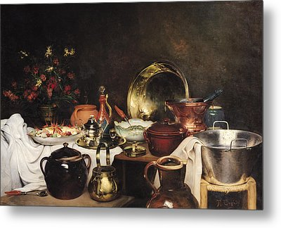 Still Life Oil On Canvas Metal Print by Theodore Charles Ange Coquelin