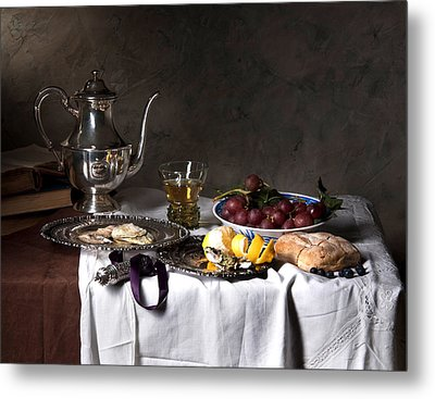 Metal Print featuring the photograph Little Breakfast Berkemeyer-oysters And Bread by Levin Rodriguez