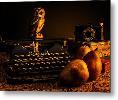 Still Life - Pears And Typewriter Metal Print by Jon Woodhams