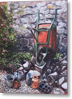 Still Life Wheelbarrow With Collection Of Pots By Stone Wall Metal Print by Martin Davey