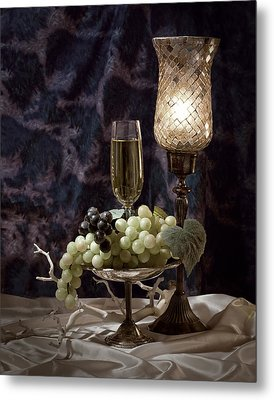 Still Life Wine With Grapes Metal Print by Tom Mc Nemar