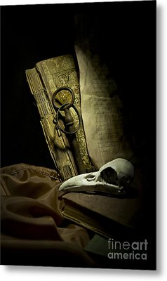Still Life With A Bird Skull Metal Print by Jaroslaw Blaminsky