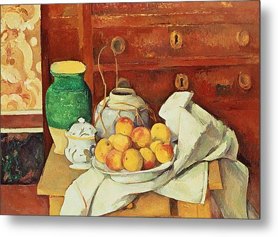 Still Life With A Chest Of Drawers Metal Print by Paul Cezanne