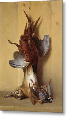 Still Life With A Hare, A Pheasant And A Red Partridge Metal Print