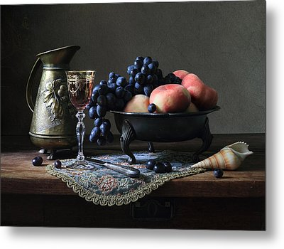 Still Life With A Jug And Fruit And A Shell. Metal Print by Helen Tatulyan