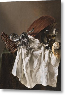 Still Life With A Lute Metal Print