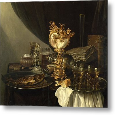 Still Life With A Nautilus Cup Metal Print by Gerrit Willemsz Heda