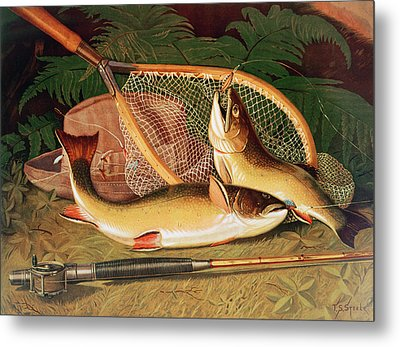 Still Life With A Salmon Trout, A Rod And A Net Metal Print by Thomas Sedgwick Steele