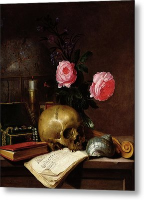 Still Life With A Skull Oil On Canvas Metal Print by Letellier