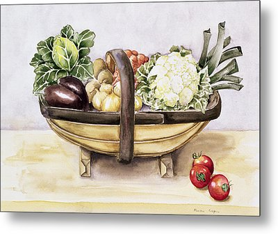 Still Life With A Trug Of Vegetables Metal Print by Alison Cooper
