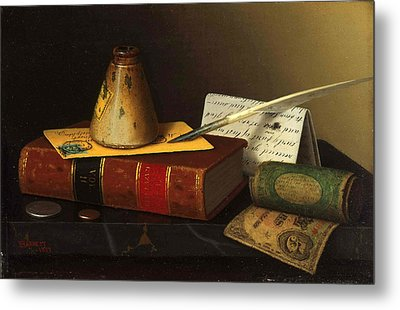 Still Life With A Writing Table Metal Print by William Michael Harnett