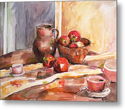 Still Life With Apples Metal Print by Becky Kim