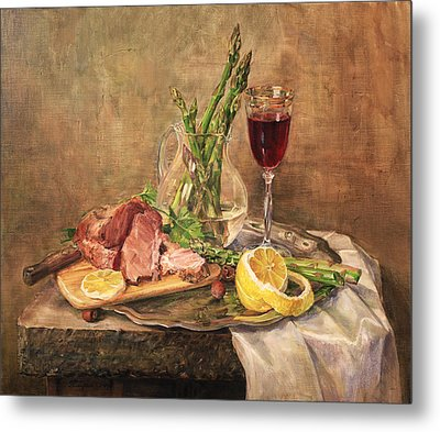 Still Life With Asparagus Metal Print