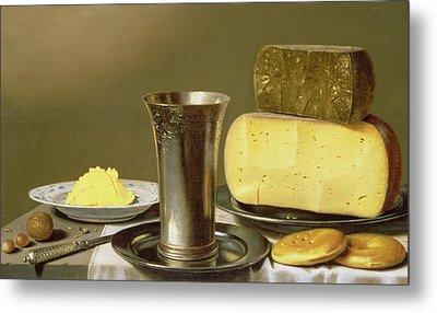 Still Life With Beaker Cheese Butter And Biscuits Metal Print by Floris van Schooten