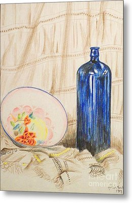 Still-life With Blue Bottle Metal Print