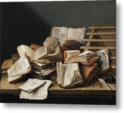 Still Life With Books Metal Print by Jan Davidsz de Heem
