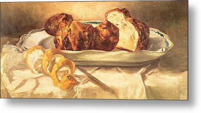 Still Life With Brioches And Lemon, 1873 Oil On Canvas Metal Print by Edouard Manet