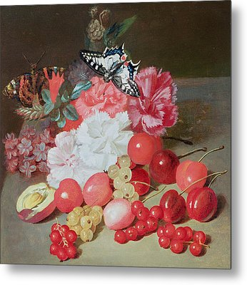 Still Life With Butterflies Metal Print by Louis Leopold Boilly