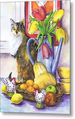 Metal Print featuring the painting Still Life With Cat by Susan Herbst