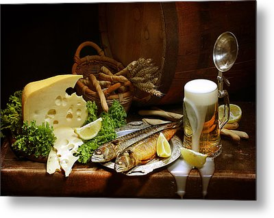 Still-life With Cool Light Beer Metal Print by Marina Volodko