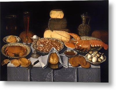 Still Life With Crab Shrimp And Lobsters Metal Print