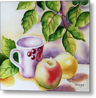 Still Life With Cup And Fruits Metal Print by Inese Poga