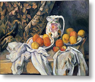 Still Life With Drapery Metal Print by Paul Cezanne
